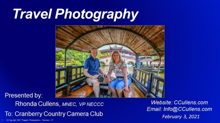 Rhonda presents Travel Photography at Cranberry Country Camera Club